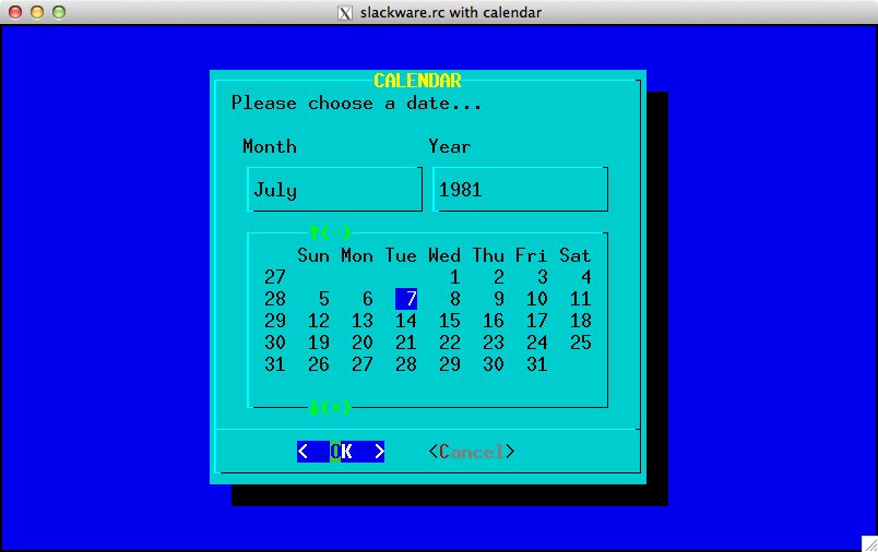 Example of Slackware color-scheme with calendar widget