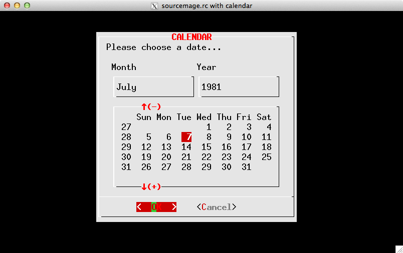 Example of SourceMage color-scheme with calendar widget