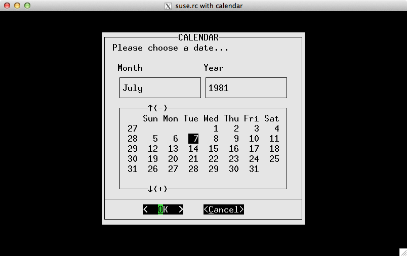 Example of SuSE color-scheme with calendar widget