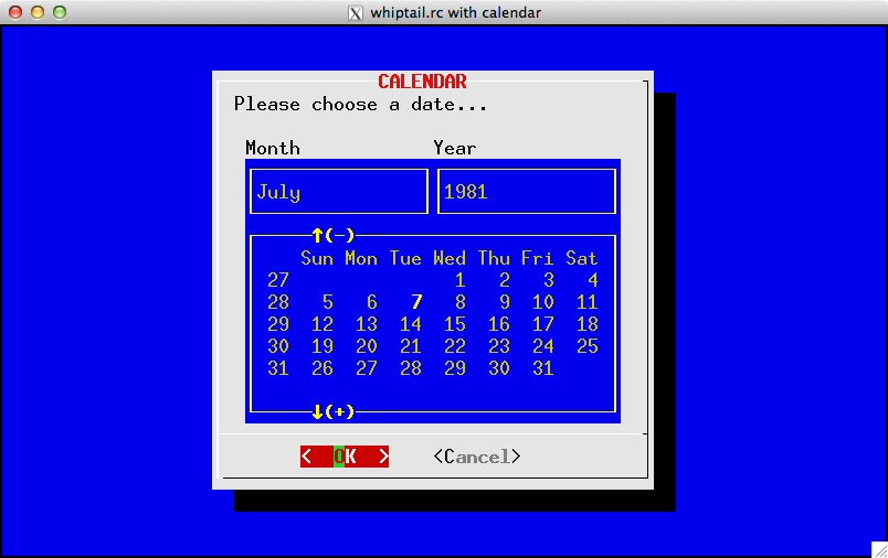 Example of Whiptail color-scheme with calendar widget