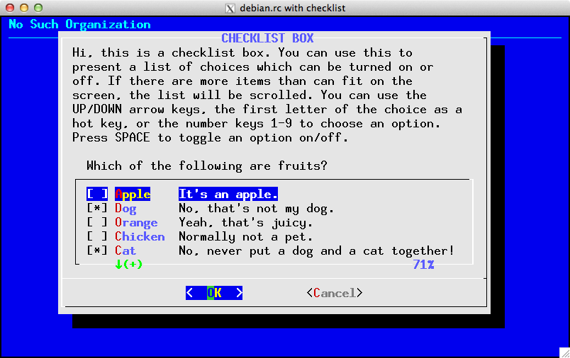 Example of Debian color-scheme with checklist widget