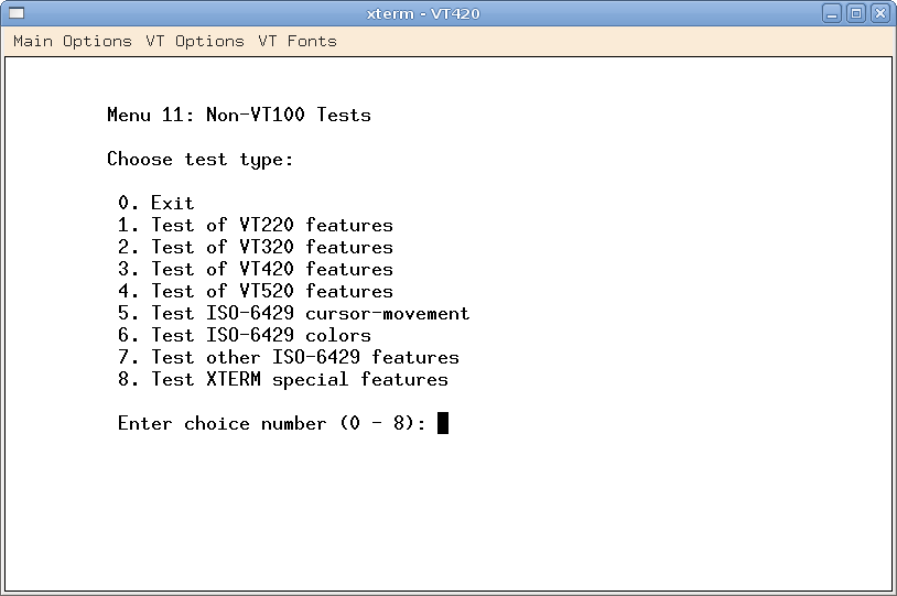 Menu for non-VT100 Tests